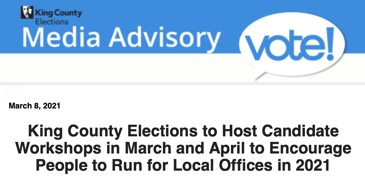 King County Elections Candidate Workshops